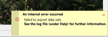 An internal error occurred. Failed yo export data sets. See the log file (under Help) for further information.